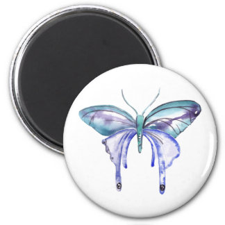 watercolor aqua blue purple butterfly magnet