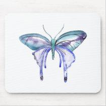 watercolor aqua blue purple butterfly mouse pad