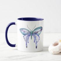 watercolor aqua blue purple butterfly mug