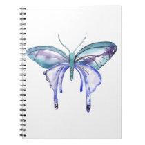 watercolor aqua blue purple butterfly notebook