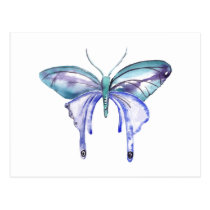 watercolor aqua blue purple butterfly postcard