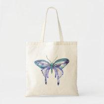 watercolor aqua blue purple butterfly tote bag