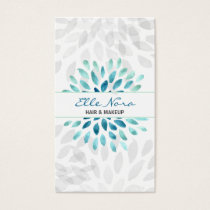 watercolor aqua floral Makeup artist Business Card
