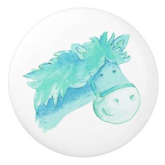 Watercolor aqua pony / horse knob ceramic knob