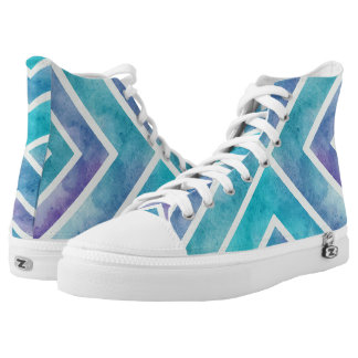 Watercolor aqua, purple geometric chevron stripes High-Top sneakers