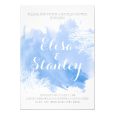 Watercolor aquamarine reef wedding couples shower 5x7 paper invitation card