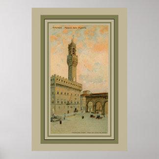 Watercolor aquarelle Florence Palazzo Vecchio Poster