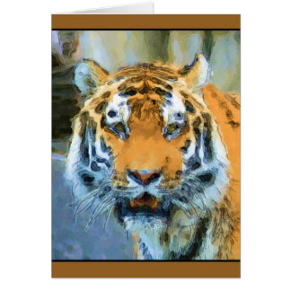 Watercolor aquarelle tiger portrait card