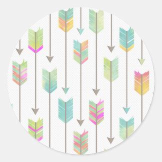 Watercolor Arrows Pattern Classic Round Sticker