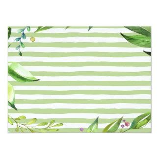 Watercolor Art Bold Green Stripes Floral Design Card