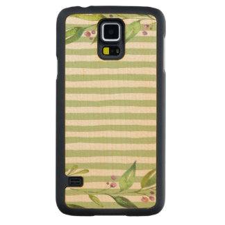 Watercolor Art Bold Green Stripes Floral Design Carved Maple Galaxy S5 Slim Case