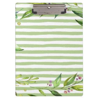 Watercolor Art Bold Green Stripes Floral Design Clipboard