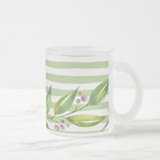 Watercolor Art Bold Green Stripes Floral Design Frosted Glass Coffee Mug