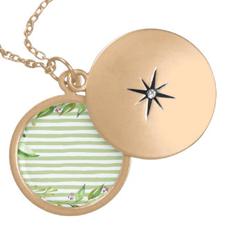Watercolor Art Bold Green Stripes Floral Design Gold Plated Necklace