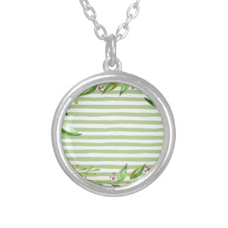 Watercolor Art Bold Green Stripes Floral Design Silver Plated Necklace