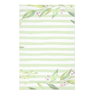 Watercolor Art Bold Green Stripes Floral Design Stationery