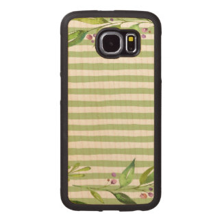 Watercolor Art Bold Green Stripes Floral Design Wood Phone Case