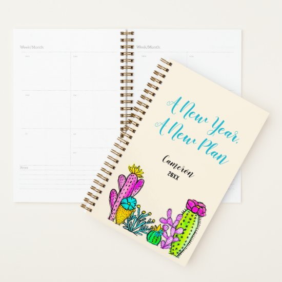 Watercolor Art Cactus Inspirational Quote Add Name Planner
