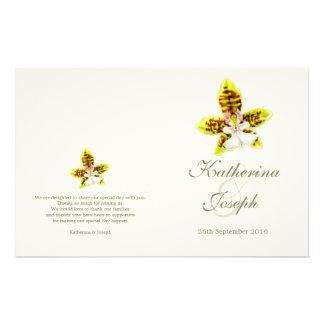 Watercolor art Orchid flower wedding programme Flyer