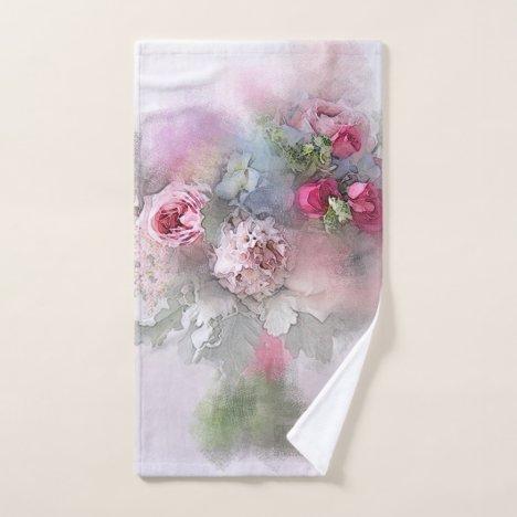 Watercolor Art Pink Red Roses Bouquet Floral Bath Towel Set