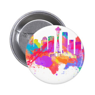 Watercolor art print of the skyline of Seattle USA Badge