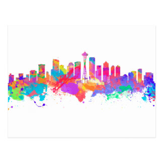 Watercolor art print of the skyline of Seattle USA Postcard