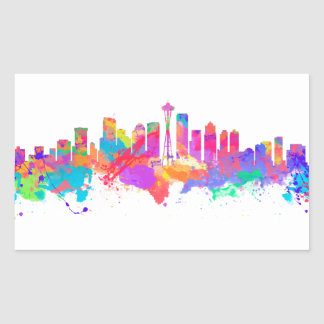 Watercolor art print of the skyline of Seattle USA Rectangular Sticker