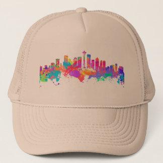 Watercolor art print of the skyline of Seattle USA Trucker Hat