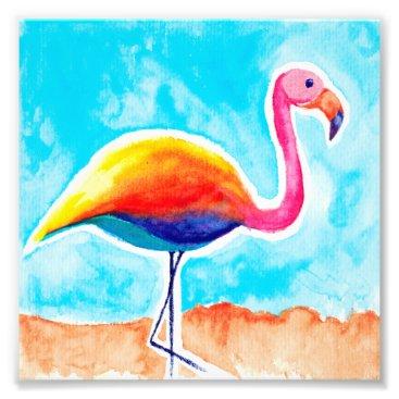 Beach Themed Watercolor Art Print [rainmingo] flamingo