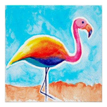 Beach Themed Watercolor Art Print [rainmingo] flamingo Poster