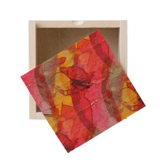 Watercolor art red yellow wooden keepsake box