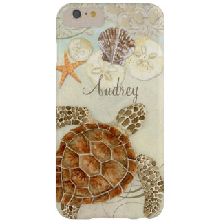 Watercolor Art Sea Turtle Coastal Beach Sea Shells Barely There iPhone 6 Plus Case