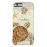 Watercolor Art Sea Turtle Coastal Beach Sea Shells Barely There iPhone 6 Case