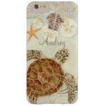 Watercolor Art Sea Turtle Coastal Beach Sea Shells Barely There iPhone 6 Plus Case