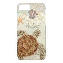 Watercolor Art Sea Turtle Coastal Beach Sea Shells iPhone 8/7 Case