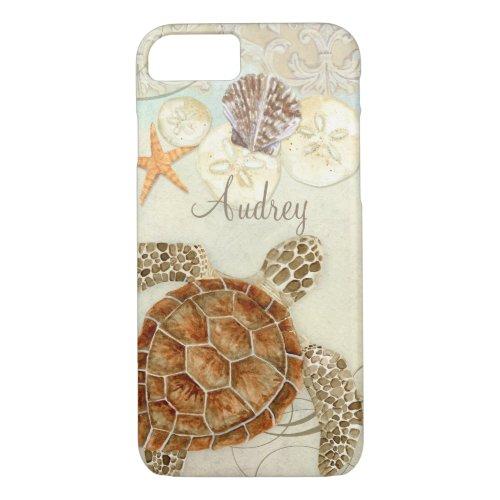 Watercolor Art Sea Turtle Coastal Beach Sea Shells Phone Case