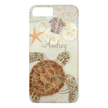 AudreyJeanne Watercolor Art Sea Turtle Coastal Beach Sea Shells iPhone 7 Plus Case