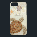 "Watercolor Art Sea Turtle Coastal Beach Sea Shells iPhone 8/7 Case<br><div class=""desc"">This is a contemporary, sophisticated Modern beach, coastal style protective designer personalized phone case to match the wedding invitation set. Featuring stylized, hand watercolored Sea Turtle, on a sandy textured watercolor background with aqua blue water, star fish, sand dollars and shells in addition to swirls and a beautiful decorative elements...</div>"