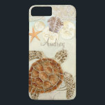 "Watercolor Art Sea Turtle Coastal Beach Sea Shells iPhone 8 Plus/7 Plus Case<br><div class=""desc"">This is a contemporary, sophisticated Modern beach, coastal style protective designer personalized phone case to match the wedding invitation set. Featuring stylized, hand watercolored Sea Turtle, on a sandy textured watercolor background with aqua blue water, star fish, sand dollars and shells in addition to swirls and a beautiful decorative elements...</div>"