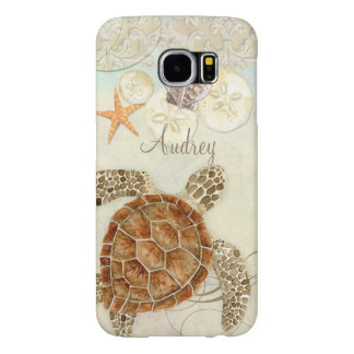 Watercolor Art Sea Turtle Coastal Beach Sea Shells Samsung Galaxy S6 Cases