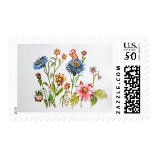 Watercolor Art Wildflowers Flowers Postage