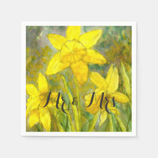 Watercolor Art Yellow Flowers Daffodils Mr and Mrs Napkin