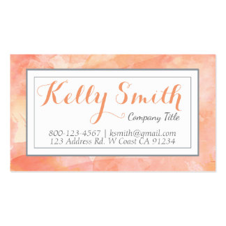 Watercolor Artist Modern Business, Orange Coral Business Card