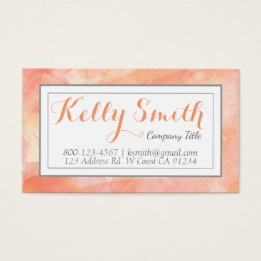 Professional Business Watercolor Artist Modern Business, Orange Coral Business Card