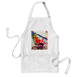 Watercolor Artist Paint Tray and Brush on Flowers Adult Apron