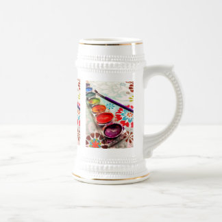 Watercolor Artist Paint Tray and Brush on Flowers Beer Stein