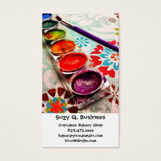 Watercolor Artist Paint Tray and Brush on Flowers Business Card