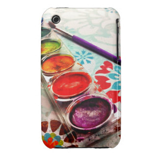 Watercolor Artist Paint Tray and Brush on Flowers Case-Mate iPhone 3 Case