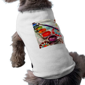 Watercolor Artist Paint Tray and Brush on Flowers Pet T-shirt
