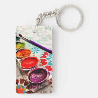 Watercolor Artist Paint Tray and Brush on Flowers Double-Sided Rectangular Acrylic Keychain